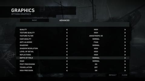 Tomb Raider PC Advanced Graphics Options Menu