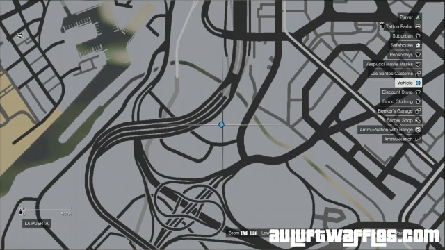 The location of the stash car on the map.