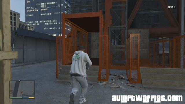 The elevator to the rooftop in The Construction Assassination in GTA V