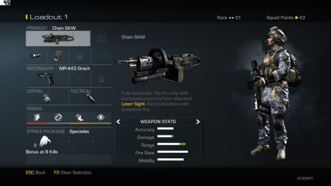 Chain SAW Light Machine Gun best Soldier Setup Call of Duty Ghosts Weapon Guide