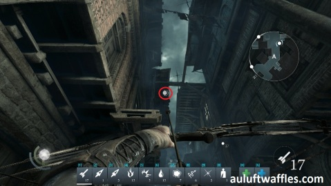 Shoot an Arrow at the Highlighted Spot to Lower the Bridge in Taking a Fence in Thief 2014