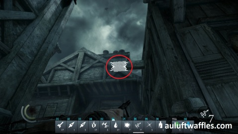 Fire a Rope Arrow at the Highlighted Beam to be able to Get into Hangman's Apartment in Long Drop Full Stop in Thief 2014
