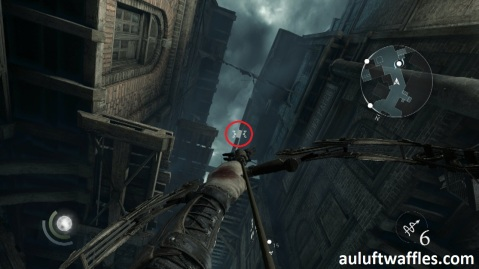 Shoot a Rope Arrow at the Highlighted Beam in Taking a Fence in Thief 2014