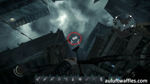 Shoot a Rope Arrow at the Highlighted Beam in in Taking a Fence in Thief 2014