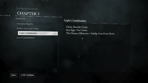 Coyle's Combination to Open Madam Xiao-Xiao's Safe in The House of Blossoms Upper Level in Chapter 3 Dirty Secrets in Thief 2014