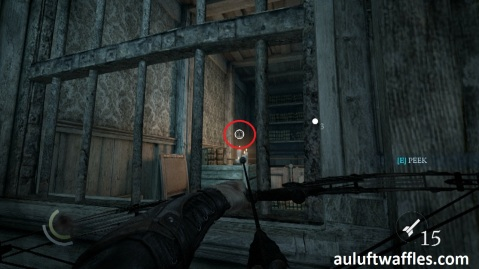 Shoot a Blunt Arrow at the Highlighted Spot to open the Window in in Taking a Fence in Thief 2014