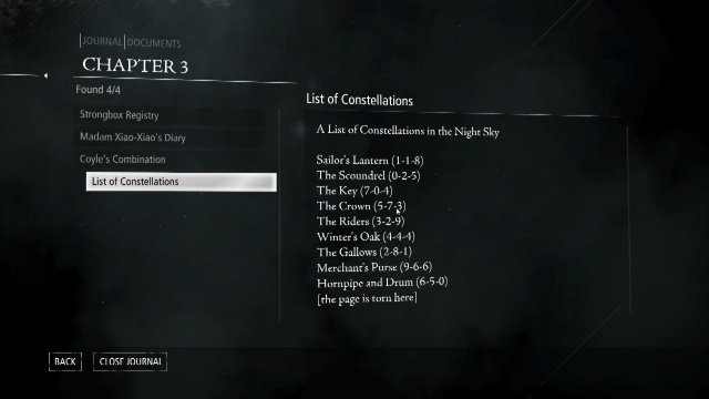 List of Constellations to Open Madam Xiao-Xiao's Strongbox (Safe) in The House of Blossoms in Chapter 3 Dirty Secrets in Thief 2014