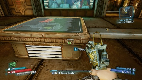 Press this button to find the first echo in Wiping the Slate in Borderlands: The Pre-Sequel