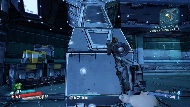Jump, run forwards and boost at this pillar to climb up to the platform to pick up the eye chunk in Picking Up the Pieces in Borderlands: The Pre-Sequel.