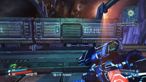 Jump onto these containers to jump up to the platform to find the second grinder in Grinders in Borderlands: The Pre-Sequel!