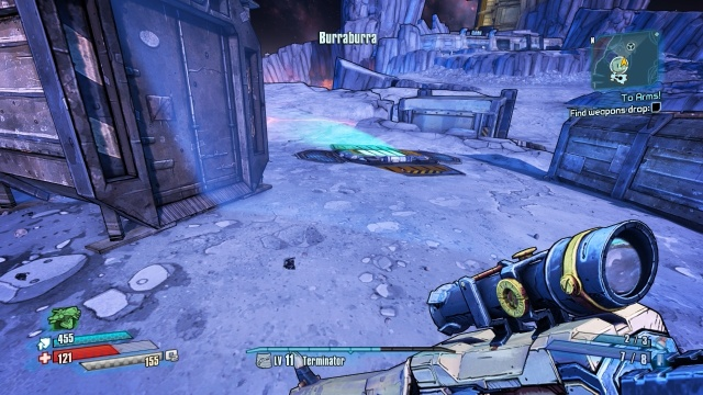 Use the jump pad to get to the platform to find the weapons drop.