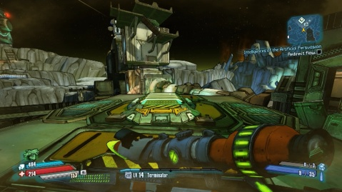 Use jump pads to get on top of the station to redirect the flow in Intelligence of the Artificial Persuasion in Borderlands: The Pre-Sequel!
