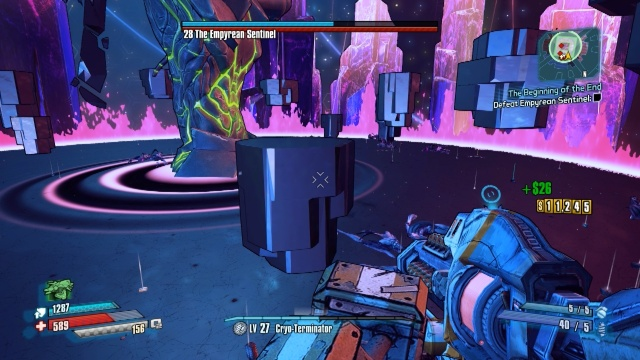 One of the Empurean Sentinel's Attacks where pillars rise from the ground in The Beginning of the End in Borderlands: The Pre-Sequel.