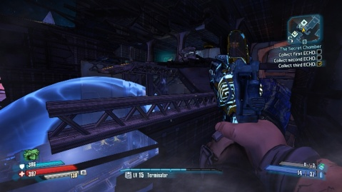 Jump towards this metal beam to collect the second echo in The Secret Chamber in Borderlands: The Pre-Sequel!