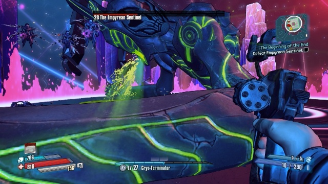 An attack of the Empyrean Sentinel where he spits acid everywhere in the Beginning of the End in Borderlands: The Pre-Sequel.