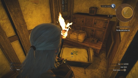 Put the doll in the crib in Novigrad dreaming in Witcher 3 Wild Hunt.