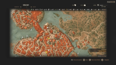 Location of the cliffs to find another way into Attre Villa in Broken Flowers in Witcher 3 Wild Hunt.