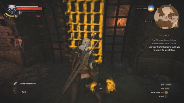 Go through this door to find the secret stash in Get Junior in Witcher 3 Wild Hunt.