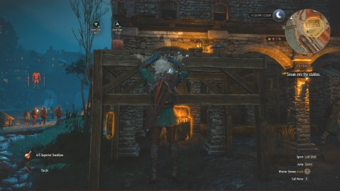 Climb to the platform to sneak into the stables in Payback in Witcher 3 Wild Hunt.