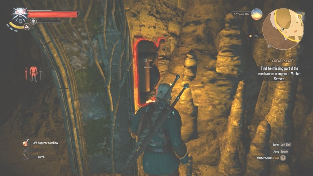 Take this mechanism to the other to open the door in The Great Escape in Witcher 3 Wild Hunt.