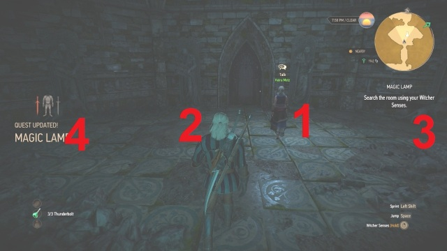 Correct order to light the lamps in magic lamp in Witcher 3 Wild Hunt.