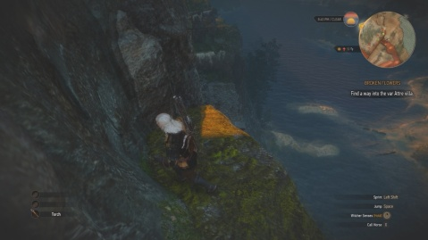 Jump down to the platform and go up the three ledges ahead to find another way in Attre Villa in Broken Flowers in Witcher 3 Wild Hunt.