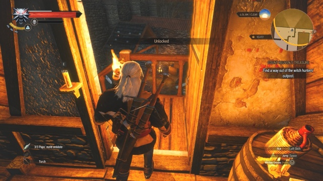 Go through this door to find another way out of the witch hunter's outpost in Count Reuven's Treasure in Witcher 3 Wild Hunt.