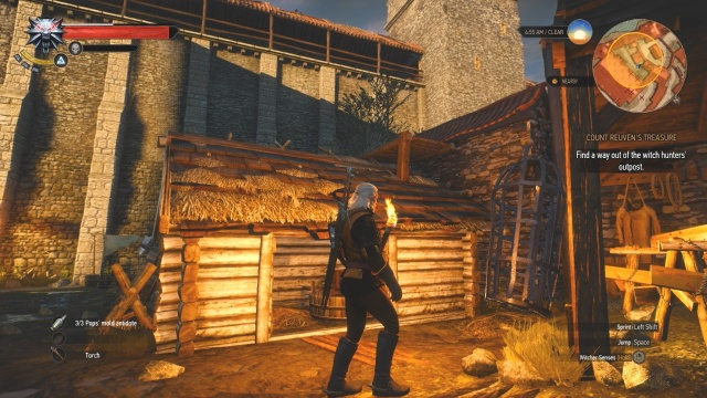 Climb over this building to find another way out of the witch hunter's outpost in Count Reuven's Treasure in Witcher 3 Wild Hunt.