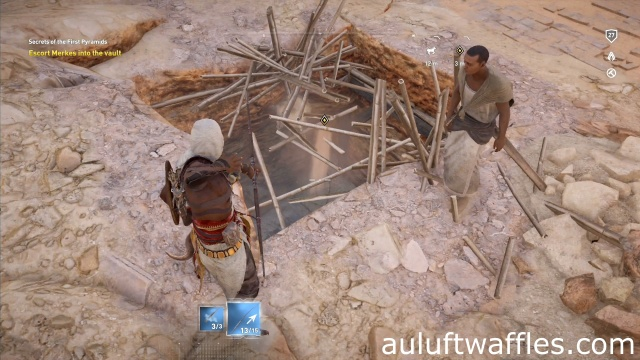 Escort Merkes into Vault Secrets of the First Pyramids in Assassin's Creed: Origins