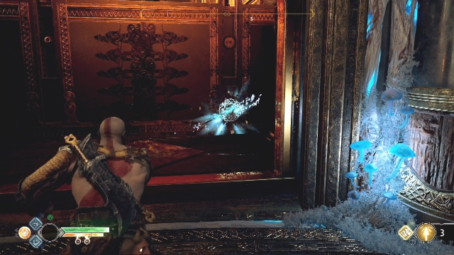 Freeze the set of spikes at the bottom by throwing the axe at the white disc on the set of spikes to break the chains in A Path to Jotenheim in The Journey in God of War.