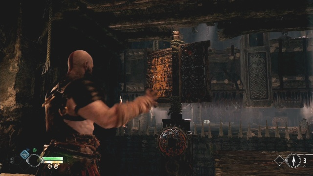 Throw the axe at the revolving panel to raise the spikes in The River Pass in God of War: Ascension.