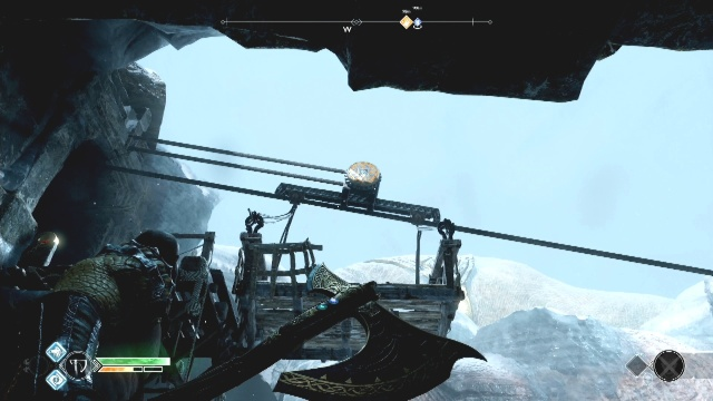 Throw the axe at the disc to freeze the platform in place to return to the boat in Behind the Lock in God of War.