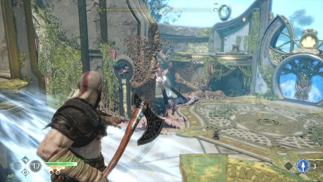 Throw the axe to destroy the tentacles to find a way out of the temple in the light of Alfheim in God of War: Ascension.