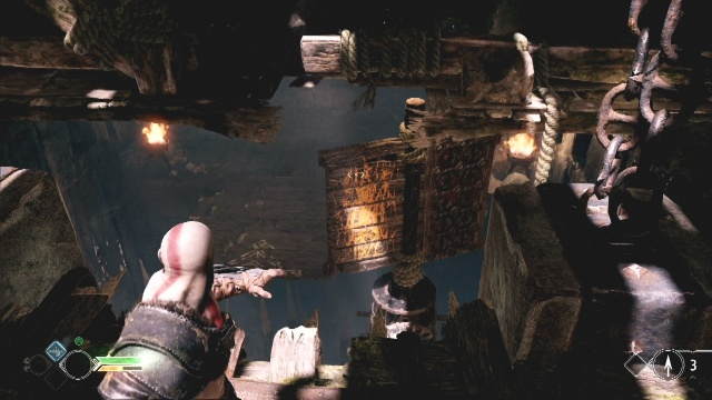 To destroy the second case throw the axe at the revolving panel in The River Pass in God of War: Ascension.
