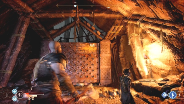 Throw the axe at the orange patch to open the spike wall to free the chain Inside the Mountain The Journey God of War: Ascension