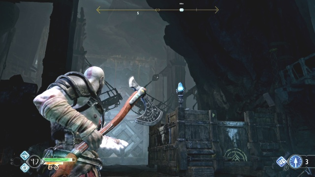 Destroy the pulleys to lower the bridge to free the chain Inside the Mountain The Journey God of War: Ascension