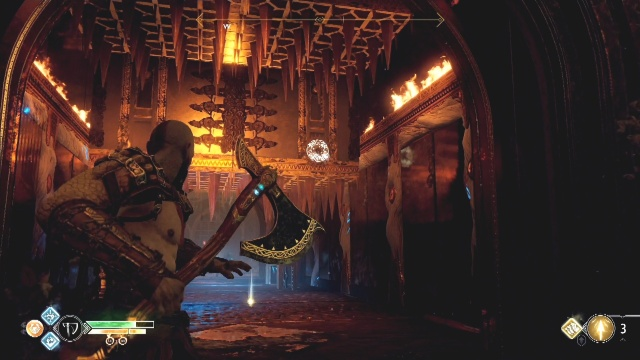 Freeze the middle spikes in the top position to break the chains in A Path to Jotenheim in The Journey in God of War.