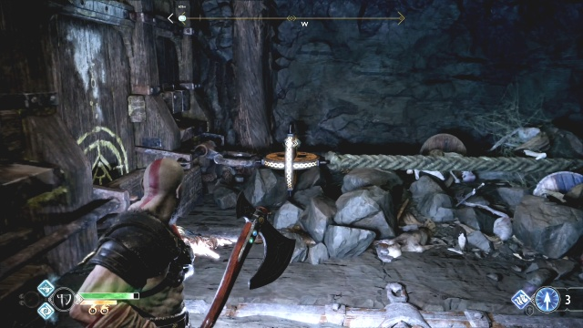 Destroy the rope holding the cart to free the chain Inside the Mountain The Journey God of War: Ascension