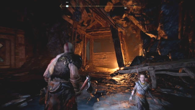 Go through the orange tunnel and destroy the planks to free the chain Inside the Mountain The Journey God of War: Ascension
