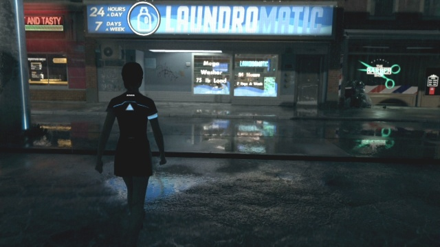 To find clothes go into the laundromat to find shelter for the night in fugitives in Detroit: Become Human.
