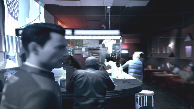 Stand near the corner of the bar and scan the guys face to find Lt. Anderson in Partners in Detroit: Become Human,