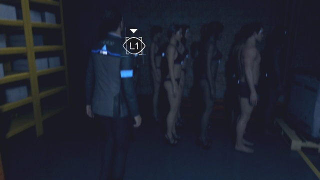 Look at the group of androids in the back right of the warehouse to search the warehouse in The Eden Club in Detroit: Become Human.