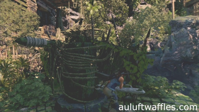 Turn the pillar so that the rope wrapped beam faces to the left to complete the Underworld Gate tomb in the Peruvian Jungle in Shadow of the Tomb Raider
