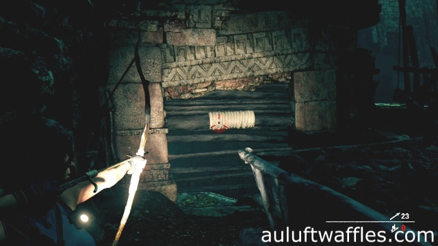 Use a rope arrow to clear the gate to get to top of pyramid in underground temple in Hunter's Moon in Cozume in Shadow of the Tomb Raider