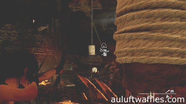 Use a rope arrow to connect the two weights together to complete the howling caves tomb in Kuwaq Yaku in Shadow of the Tomb Raider