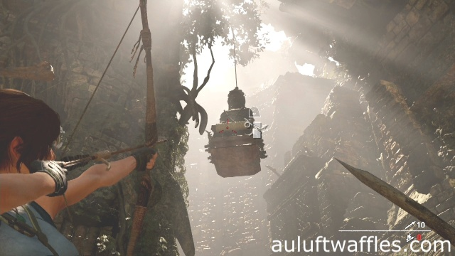 Attach the right side of the ladder to the raised statue to complete the Judge's Gaze Tomb in the Peruvian Jungle in Shadow of the Tomb Raider