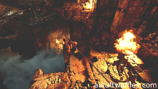 Use the rope to get back to the nearby ledge to complete the howling caves tomb in Kuwaq Yaku in Shadow of the Tomb Raider