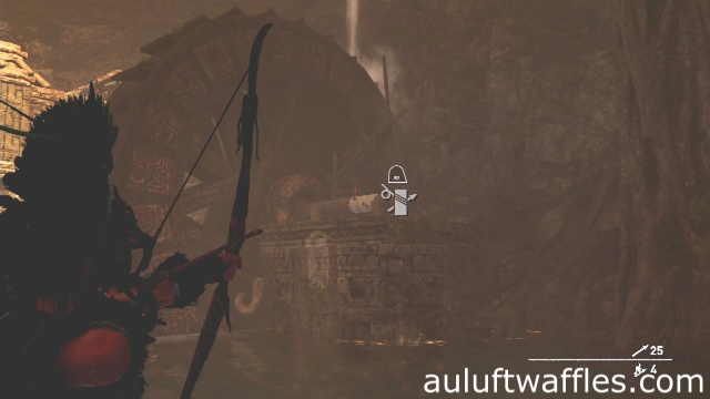 Use a rope arrow to attach the raft to the turning beam to complete the ancient aqueduct tomb in the Hidden City in Shadow of the Tomb Raider