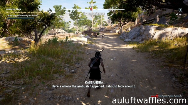 Investigate the road to find and investigate the ambushes in Lumbering Along in Kephallonia in Assassin's Creed Odyssey