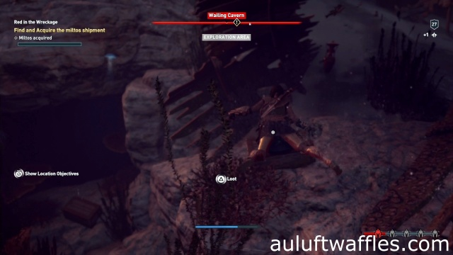 Open the chest in the wreckage to find and acquire the miltos shipment in Red in the Wreckage on Lestris in Assassin's Creed Odyssey